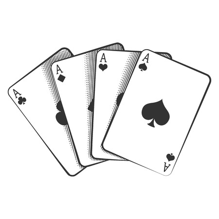 Illustrazione per A winning poker hand of four aces playing cards suits on white. - Immagini Royalty Free