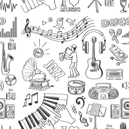 Illustration pour Hand drawn music pattern, excellent vector illustration - image libre de droit