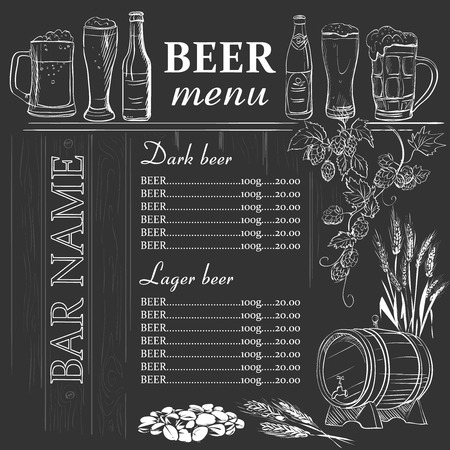 Ilustración de Beer menu hand drawn on chalkboard, excellent vector illustration - Imagen libre de derechos