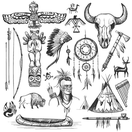 Illustration for Set of wild west american indian designed elements. - Royalty Free Image