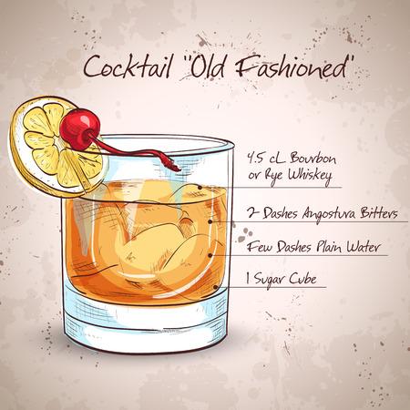 Ilustración de Old fashioned cocktail - Imagen libre de derechos