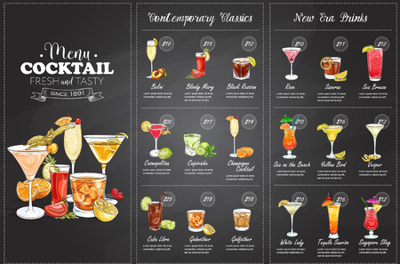 Ilustración de Front Drawing horisontal cocktail menu design on blackboard background - Imagen libre de derechos