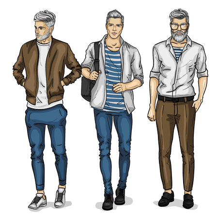 Illustration pour Vector man models dressed in casual style, sketch, spring collection - image libre de droit