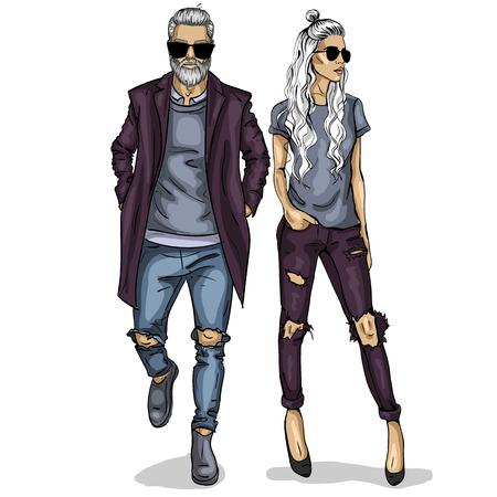 Illustration pour Vector woman and man fashion models, autumn collage look - image libre de droit