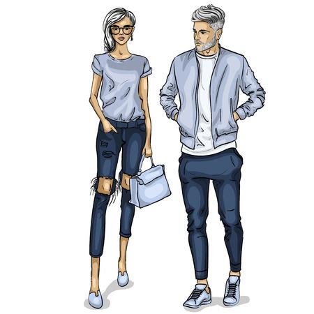 Illustration pour Vector woman and man fashion models, spring look - image libre de droit