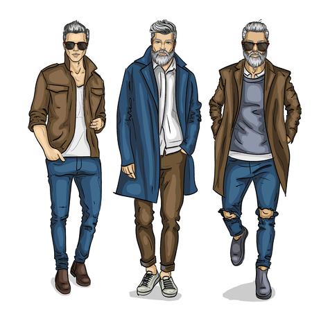Illustration pour Vector man models dressed in casual style, sketch, autumn look - image libre de droit