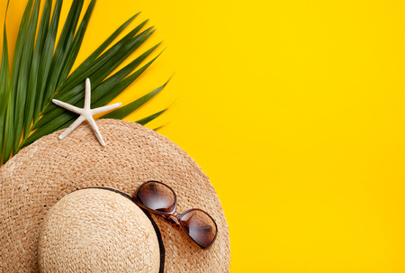 Photo for Summer vacation concept flat lay. Beach accessories top view. Space for text. - Royalty Free Image