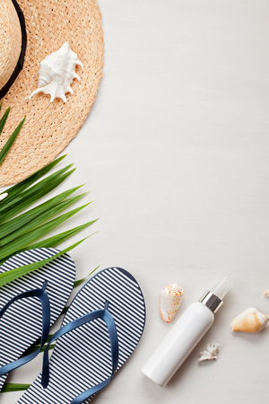 Photo for Summer vacation concept flat lay. Beach accessories top view. Space for text. travel - Royalty Free Image