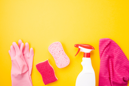 Photo for Detergents and cleaning accessories in pastel color. Cleaning service, small business idea, spring cleaning concept. Flat lay, Top view. - Royalty Free Image
