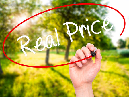 Photo pour Man Hand writing Real Price with black marker on visual screen. Isolated on background. Business, technology, internet concept. Stock Photo - image libre de droit