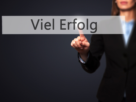 Viel Erfolg  (Much Success In German) - Businesswoman hand pressing button on touch screen interface. Business, technology, internet concept. Stock Photo