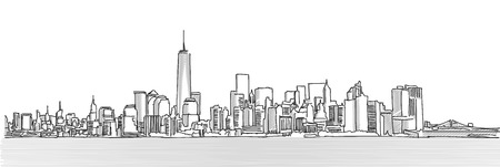 Illustration pour New York City Panorama Skyline, Free Hand Sketch, Vector Drawing - image libre de droit