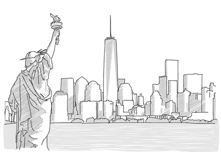 Illustration pour Free hand sketch of New York City Skyline with Statue of Liberty. Vector Drawing - image libre de droit