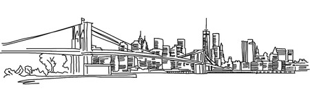 Illustration pour New York Panorama with brooklyn bridge, Vector outline Sketch - image libre de droit