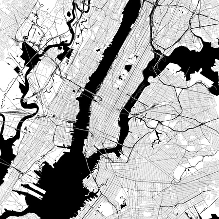 Illustration pour New York City Monochrome Vector Map. Very large and detailed outline Version on White Background. Black Highways and Railroads, Grey Streets, Blue Water. - image libre de droit