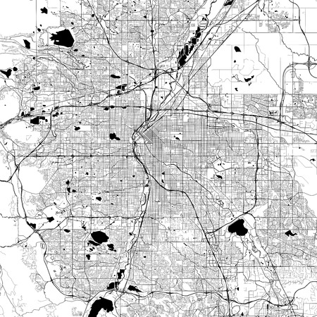 Illustration for Denver Monochrome Vector Map. Very large and detailed outline Version on White Background. Black Highways and Railroads, Grey Streets, Blue Water. - Royalty Free Image