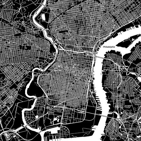 Illustration pour Philadelphia, Pennsylvania. Downtown vector map. City name on a separate layer. Art print template. Black and white. - image libre de droit