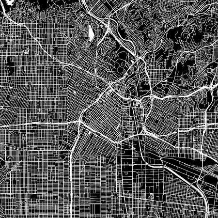 Illustration pour Los Angeles, California. Downtown vector map. City name on a separate layer. Art print template. Black and white. - image libre de droit