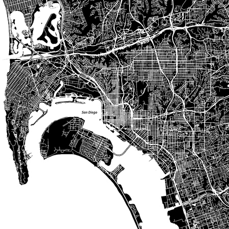 Illustration pour San Diego, California. Downtown vector map. City name on a separate layer. Art print template. Black and white. - image libre de droit