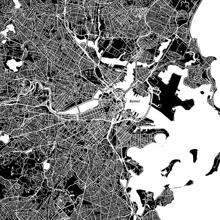 Illustration pour Boston, Massachusetts. Downtown vector map. - image libre de droit