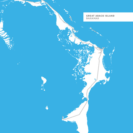 Illustration pour Map of Great Abaco Island,Bahamas, contains geography outlines for land mass, water, major roads and minor roads. - image libre de droit