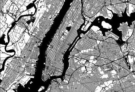 Illustration pour Map of Manhattan with parts of the Bronx, Queens, Brooklyn and Jersey City. Very detailled version without bridges and names. - image libre de droit