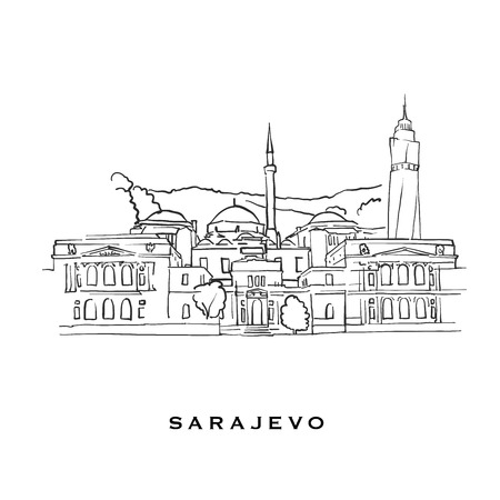 Illustration pour Sarajevo Bosnia and Herzegovina famous architecture. Outlined vector sketch separated on white background. Architecture drawings of all European capitals. - image libre de droit