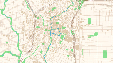 Illustration pour Street map of San Antonio, Texas. This classic colored map of San Antonio contains several shapes for highways, bigger and smaller streets, water and parks as well as buildings. - image libre de droit