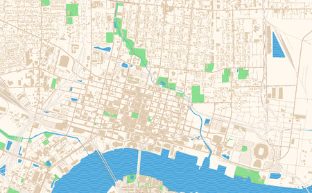 Illustration pour Jacksonville Florida printable map excerpt. This vector streetmap of downtown Jacksonville is made for infographic and print projects. - image libre de droit