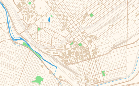 Illustration pour El Paso Texas printable map excerpt. This vector streetmap of downtown El Paso is made for infographic and print projects. - image libre de droit