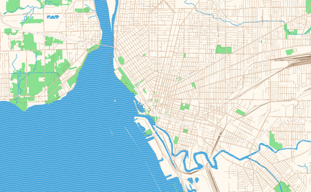 Illustration pour Buffalo New York printable map excerpt. This vector streetmap of downtown Buffalo is made for infographic and print projects. - image libre de droit