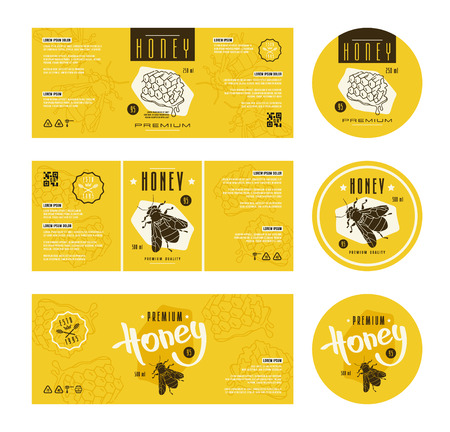 Illustration for Set of templates label for honey. With hand-drawn graphic  - Royalty Free Image