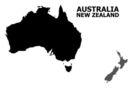 Illustration for Vector Map of Australia and New Zealand with title. Map of Australia and New Zealand is isolated on a white background. Simple flat geographic map. - Royalty Free Image