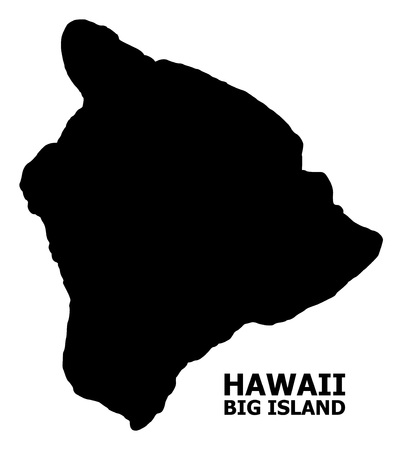 Illustration for Vector Map of Hawaii Big Island with name. Map of Hawaii Big Island is isolated on a white background. Simple flat geographic map. - Royalty Free Image