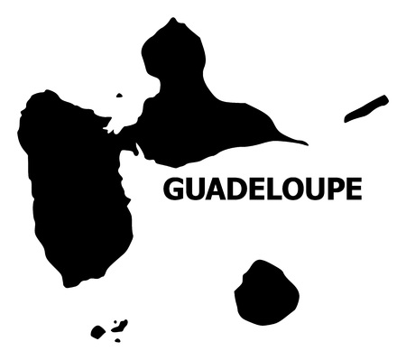 Illustration pour Vector Map of Guadeloupe with title. Map of Guadeloupe is isolated on a white background. Simple flat geographic map. - image libre de droit