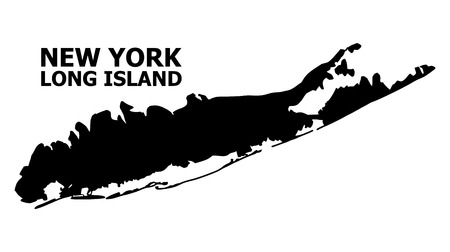 Illustration for Vector Map of Long Island with title. Map of Long Island is isolated on a white background. Simple flat geographic map. - Royalty Free Image