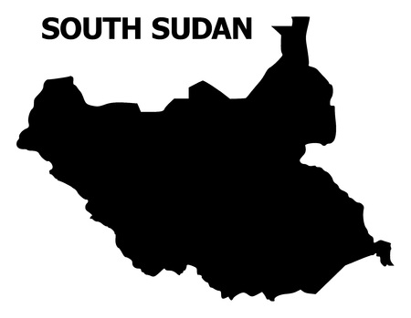 Illustration pour Vector Map of South Sudan with name. Map of South Sudan is isolated on a white background. Simple flat geographic map. - image libre de droit