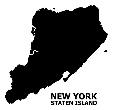 Illustration for Vector Map of Staten Island with caption. Map of Staten Island is isolated on a white background. Simple flat geographic map. - Royalty Free Image