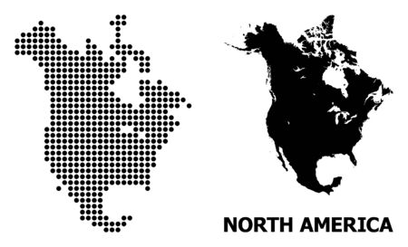 Illustration pour Dotted map of North America composition and solid illustration. Vector map of North America composition of round elements on a white background. Abstract flat territory scheme for education templates. - image libre de droit