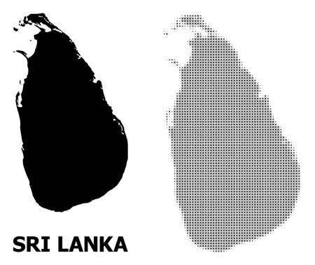 Ilustración de Halftone and solid map of Sri Lanka composition illustration. Vector map of Sri Lanka composition of x-cross items on a white background. Abstract flat territory scheme for political purposes. - Imagen libre de derechos