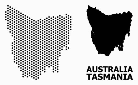 Illustration pour Pixel map of Tasmania Island composition and solid illustration. Vector map of Tasmania Island composition of round dots with honeycomb geometric pattern on a white background. - image libre de droit
