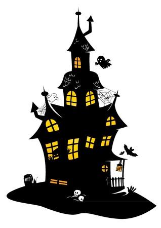 Ilustración de Traditional drawing of black halloween manor with monsters, bats and ghosts - Imagen libre de derechos