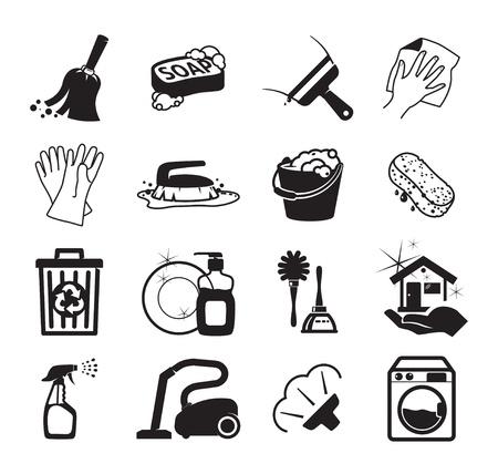 Illustration pour Monochromatic cleaning vector icons - image libre de droit