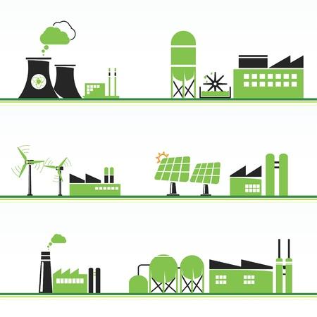 Ilustración de ECO power plants and facilities - Imagen libre de derechos