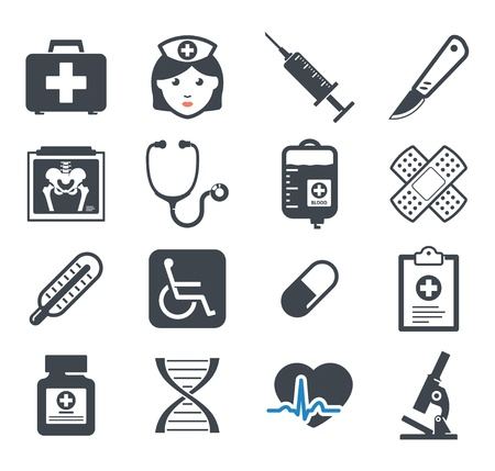 Illustration pour Medicine icons set - image libre de droit