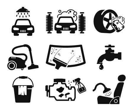 Ilustración de Car wash and car service icons collection - Imagen libre de derechos