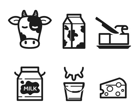 Dairy icons set, flat pictograms