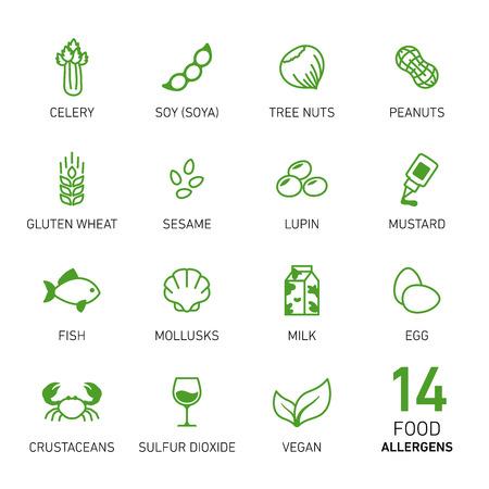 Photo pour Set of icons of food allergens - image libre de droit