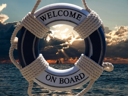 Photo pour  view on the sailing ships in sunset through blue safe belt with welcome on board sign - image libre de droit