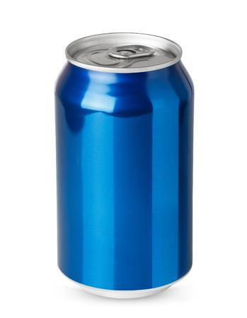 Foto de Blue aluminum can isolated on white background - Imagen libre de derechos